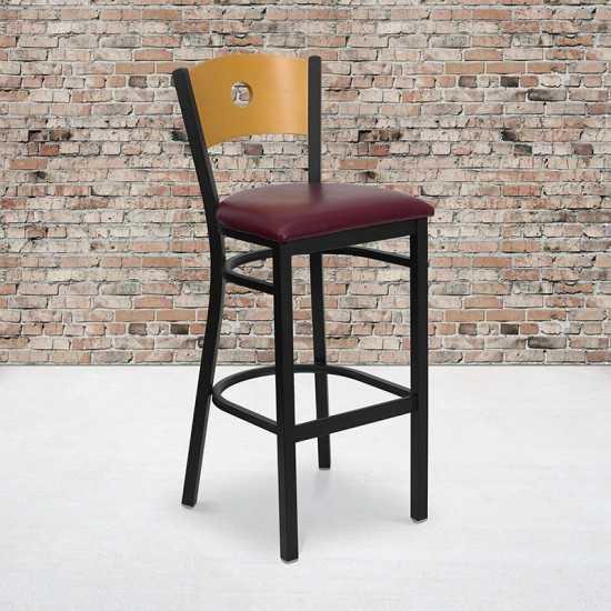 Black Circle Back Metal Restaurant Barstool - Natural Wood Back, Burgundy Vinyl Seat