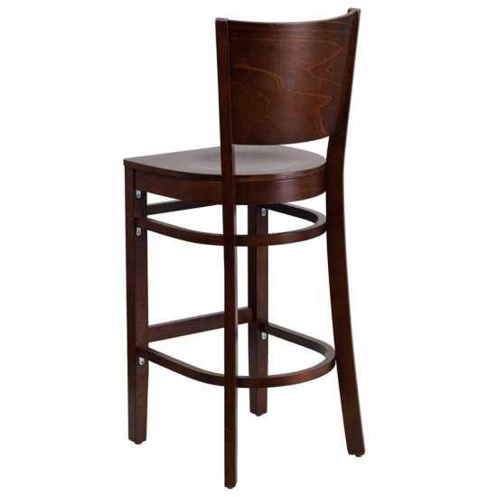 Lacey Series Solid Back Walnut Wood Restaurant Barstool