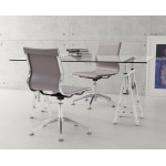 24.41-in. W 42.52-in. H Modern Stainless Steel-Plastic-Nylon Office Chair In Black-Offwhite