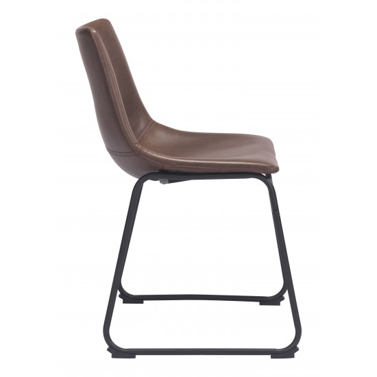 25.59-in. W 41.34-in. H Modern Stainless Steel-Plastic-Nylon Office Chair In Brown-Black