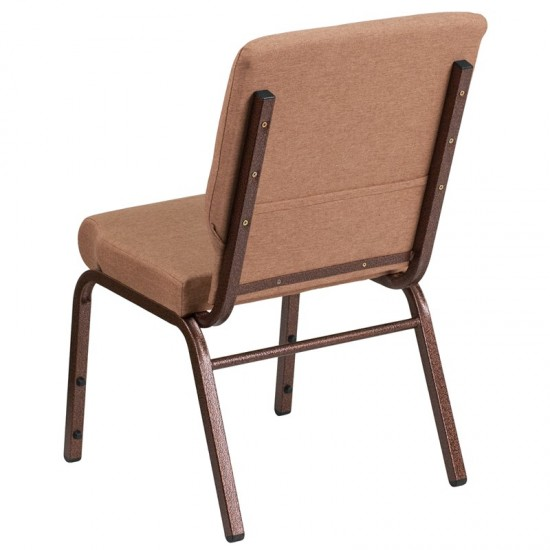 18.5''W Stacking Church Chair in Caramel Fabric - Copper Vein Frame