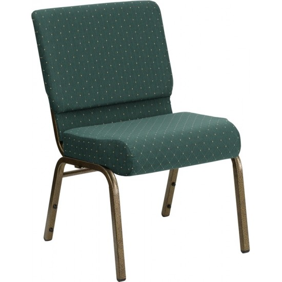 21''W Stacking Church Chair in Hunter Green Dot Patterned Fabric - Gold Vein Frame