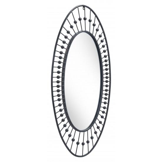 Cusp Oval Mirror Black