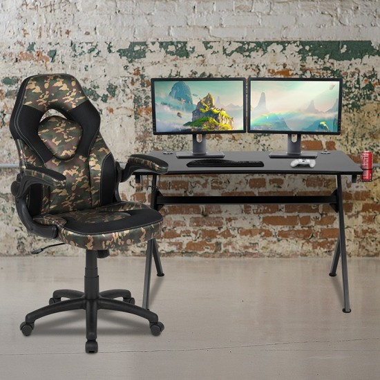 Black Gaming Desk and Camouflage/Black Racing Chair Set with Cup Holder, Headphone Hook & 2 Wire Management Holes