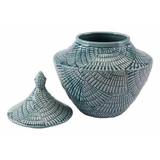 Small Escalera Covered Jar Mint