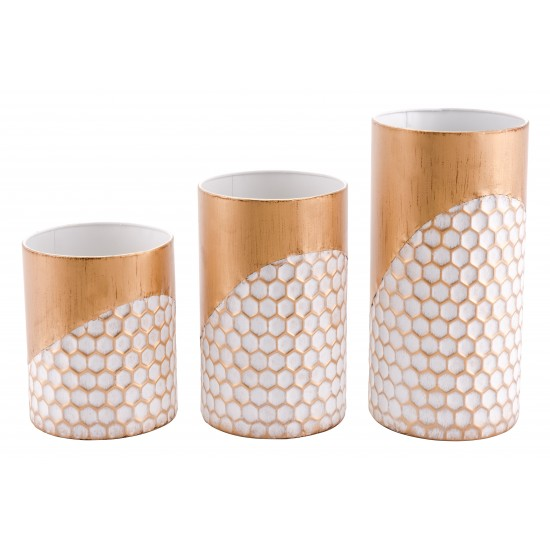 Set of 3 Honeycomb Candle Holders Gold