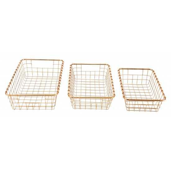 Set of 3 Grid Baskets Gold