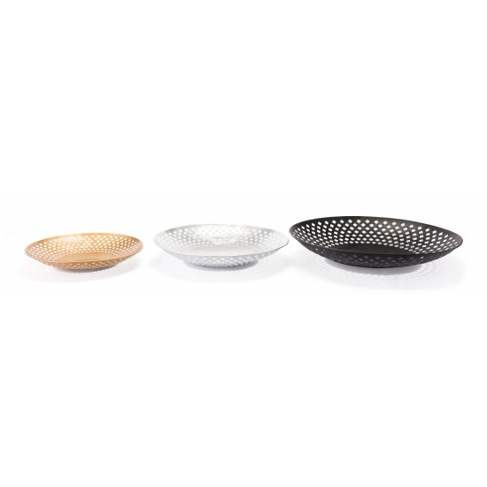 Set of 3 Shallow Bowls Multicolor
