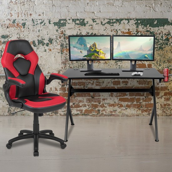 Black Gaming Desk and Red/Black Racing Chair Set with Cup Holder, Headphone Hook & 2 Wire Management Holes