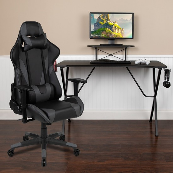 Black Gaming Desk and Gray Reclining Gaming Chair Set with Cup Holder, Headphone Hook, and Monitor/Smartphone Stand