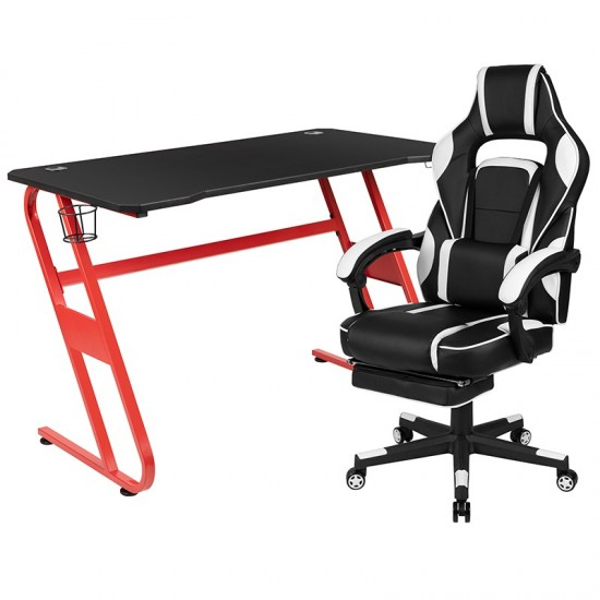 Red Gaming Desk with Cup Holder/Headphone Hook & White Reclining Back/Arms Gaming Chair with Footrest