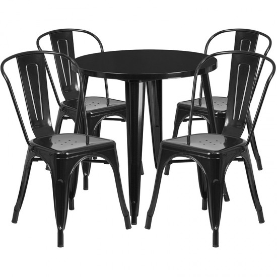 """Commercial Grade 30"""" Round Black Metal Indoor-Outdoor Table Set with 4 Cafe Chairs"""