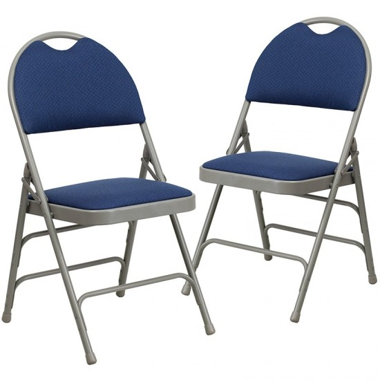 2 Pack Ultra-Premium Triple Braced Navy Fabric Metal Folding Chair with Easy-Carry Handle