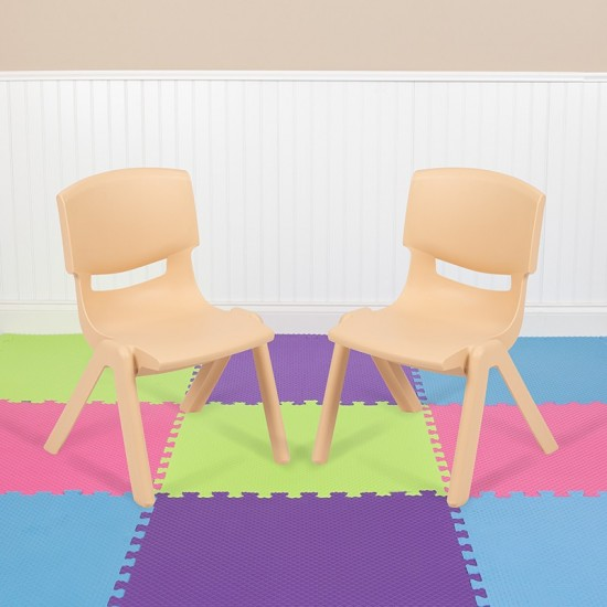"""2 Pack Natural Plastic Stackable School Chair with 10.5"""" Seat Height"""