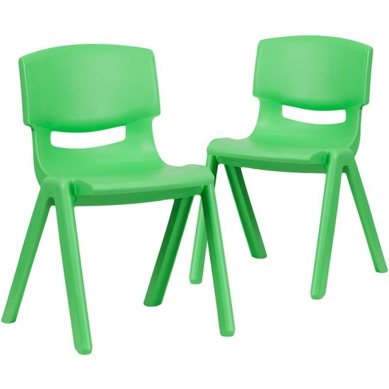 """2 Pack Green Plastic Stackable School Chair with 13.25"""" Seat Height"""
