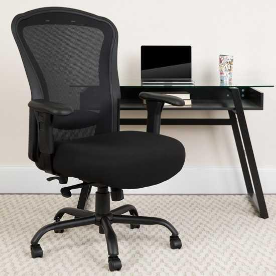 24/7 Intensive Use Big & Tall 400 lb. Rated Black Mesh Multifunction Synchro-Tilt Ergonomic Office Chair