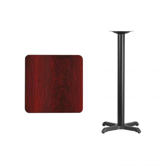 24'' Square Mahogany Laminate Table Top with 22'' x 22'' Bar Height Table Base