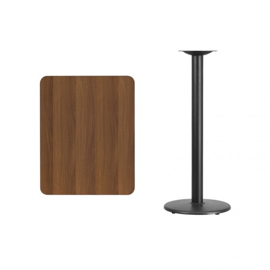 24'' x 30'' Rectangular Walnut Laminate Table Top with 18'' Round Bar Height Table Base