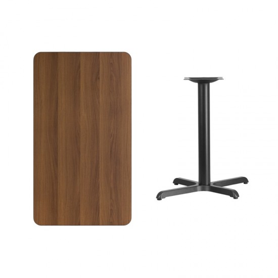 24'' x 42'' Rectangular Walnut Laminate Table Top with 23.5'' x 29.5'' Table Height Base