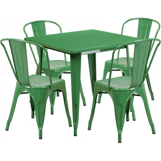 """Commercial Grade 31.5"""" Square Green Metal Indoor-Outdoor Table Set with 4 Stack Chairs"""