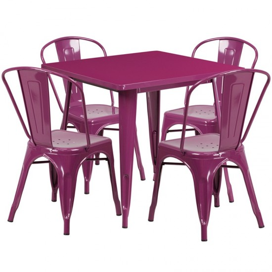 """Commercial Grade 31.5"""" Square Purple Metal Indoor-Outdoor Table Set with 4 Stack Chairs"""