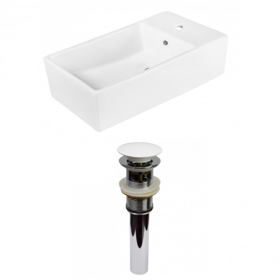 19-in. W Above Counter White Vessel Set For 1 Hole Center Faucet