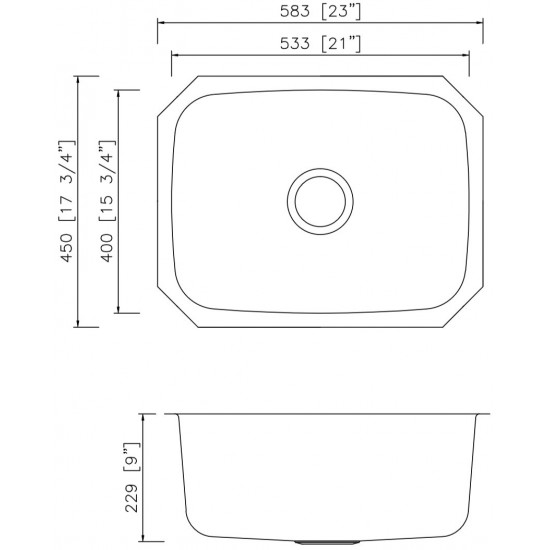 23-in. W CSA Approved Stainless Steel Kitchen Sink With Stainless Steel Finish And 18 Gauge
