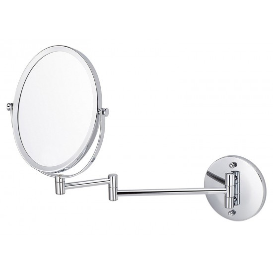 16.95-in. W Oval Stainless Steel Wall Mount Magnifying Mirror In Brushed Nickel Color