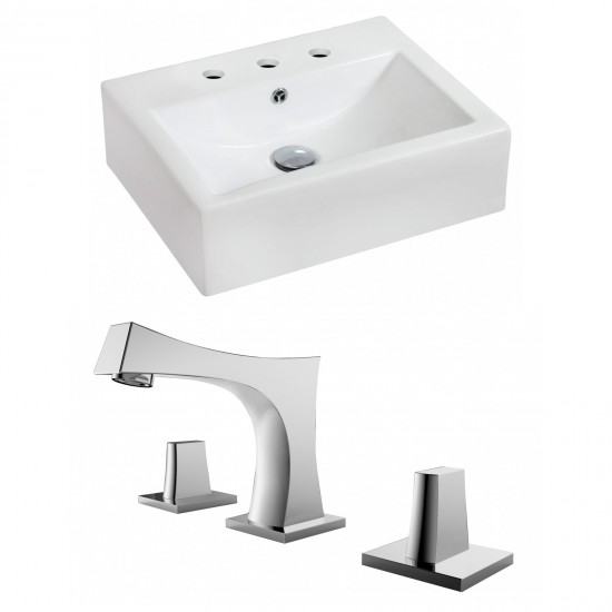 20.25-in. W Wall Mount White Vessel Set For 3H8-in. Center Faucet