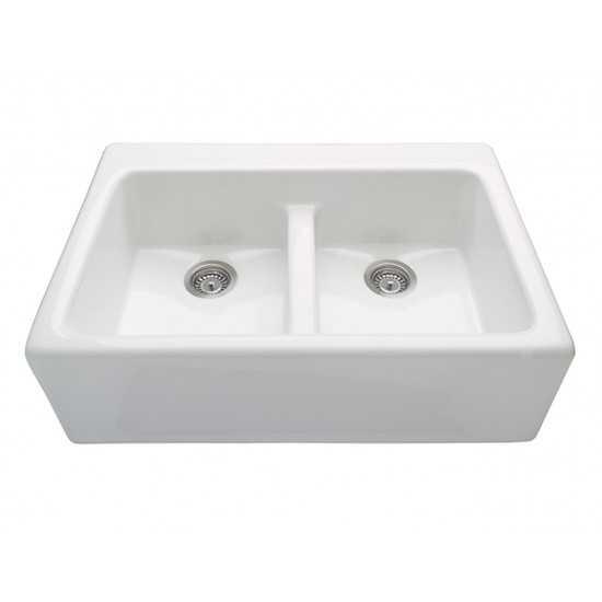 The  Appalachian double-bowl Kitchen Sink, White RKS234W