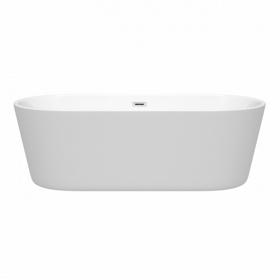 71 Inch Freestanding Bathtub in White, Polished Chrome Drain and Overflow Trim