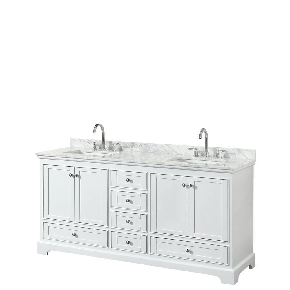72 Inch Double Bathroom Vanity in White, White Carrara Marble Countertop, Sinks, No Mirror
