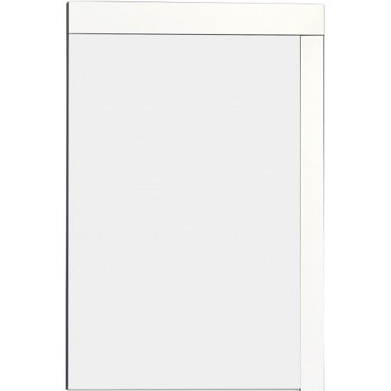 23.5-in. W 35.5-in. H Modern Plywood-Veneer Wood Mirror In White