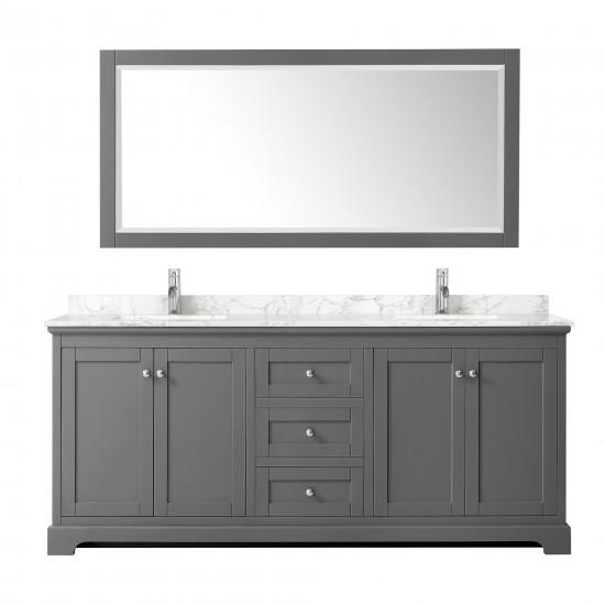 "Avery 80""Double Bathroom Vanity in Dark Gray, Dark-Vein Carrara Cultured Marble Countertop, Undermount Square Sinks, No Mirro"