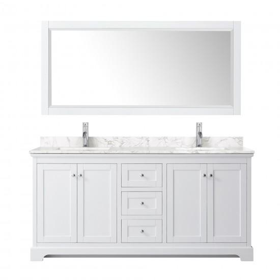 Avery 72 Inch Double Bathroom Vanity in White, Dark-Vein Carrara Cultured Marble Countertop, Undermount Square Sinks, No Mirr
