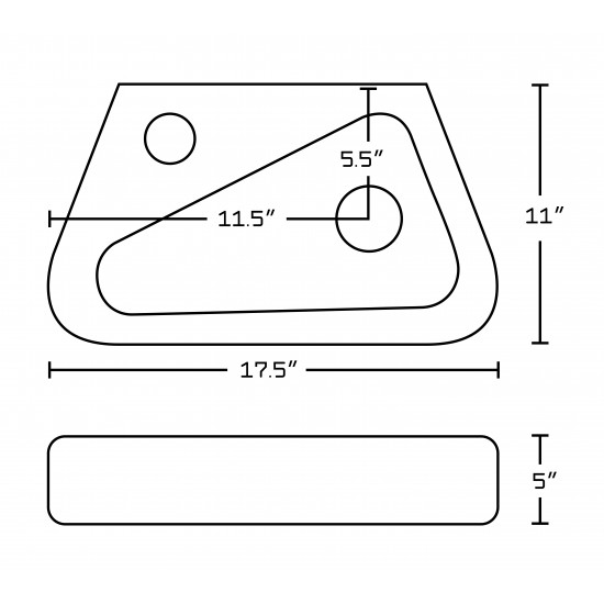 17.5-in. W Above Counter White Vessel Set For 1 Hole Left Faucet