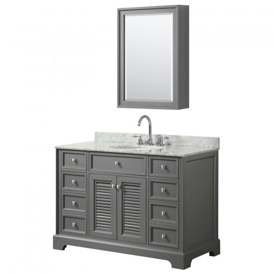 Tamara 48 Inch Single Bathroom Vanity in Dark Gray, White Carrara Marble Countertop, Undermount Oval Sink, and Medicine Cabin