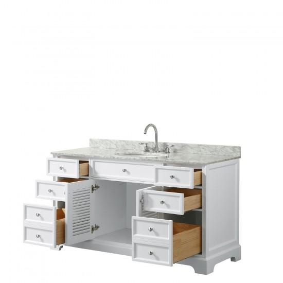 Tamara 60 Inch Single Bathroom Vanity in White, White Carrara Marble Countertop, Undermount Oval Sink, and No Mirror