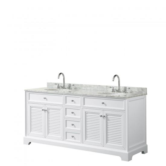 Tamara 72 Inch Double Bathroom Vanity in White, White Carrara Marble Countertop, Undermount Oval Sinks, and No Mirror