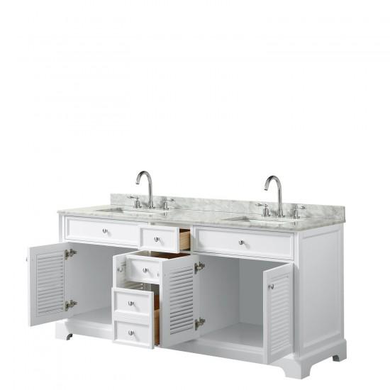 Tamara 72 Inch Double Bathroom Vanity in White, White Carrara Marble Countertop, Undermount Square Sinks, and No Mirror