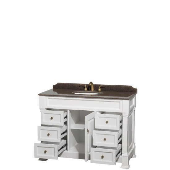 Andover 48 Inch Single Bathroom Vanity in White, Imperial Brown Granite Countertop, Undermount Oval Sink, and No Mirror