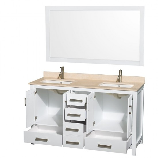 Sheffield 60 Inch Double Bathroom Vanity in White, Ivory Marble Countertop, Undermount Square Sinks, and 58 Inch Mirror