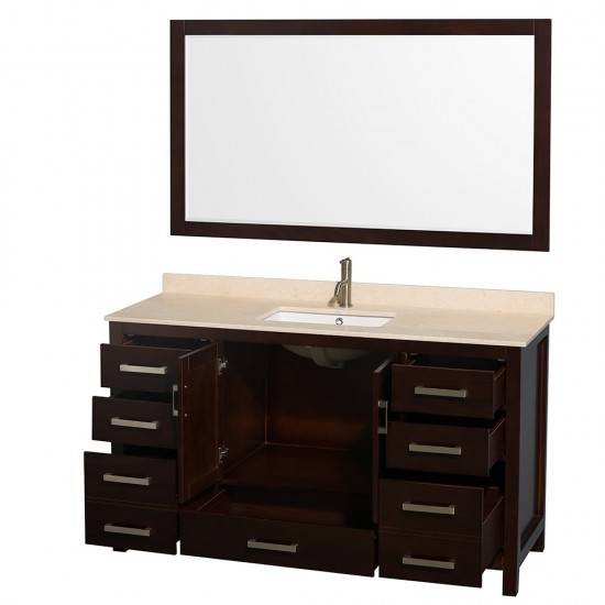 Sheffield 60 Inch Single Bathroom Vanity in Espresso, Ivory Marble Countertop, Undermount Square Sink, and 58 Inch Mirror