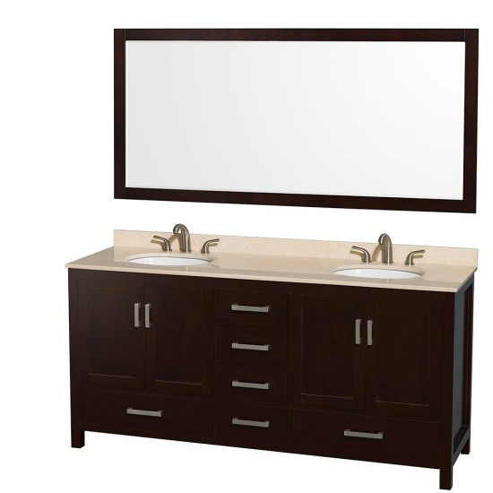 Sheffield 72 Inch Double Bathroom Vanity in Espresso, Ivory Marble Countertop, Undermount Oval Sinks, and 70 Inch Mirror