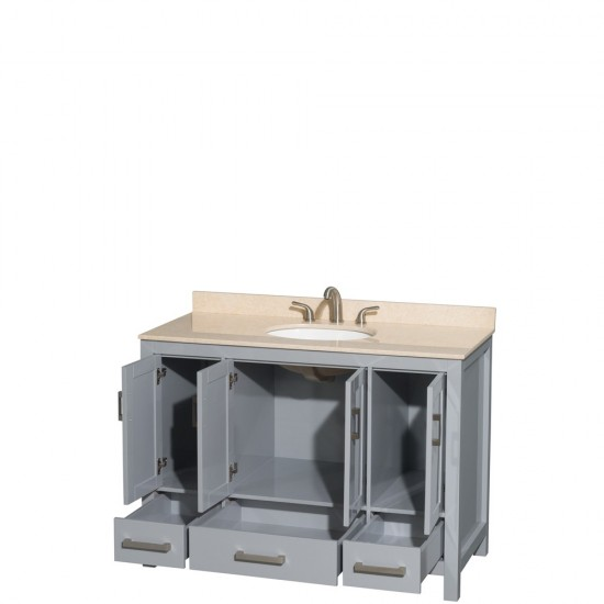 Sheffield 48 Inch Single Bathroom Vanity in Gray, Ivory Marble Countertop, Undermount Oval Sink, and No Mirror
