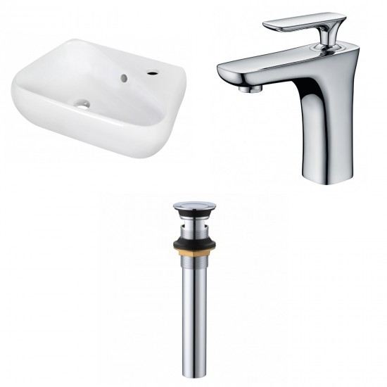 17.5-in. W Wall Mount White Vessel Set For 1 Hole Right Faucet