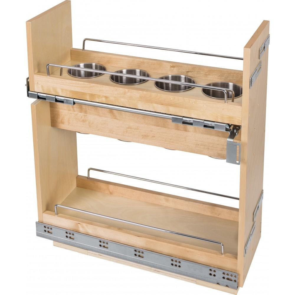 "8 Inch ""No Wiggle"" Utensil Bin Base Cabinet Pullout Built on Premium Soft-close Slides"