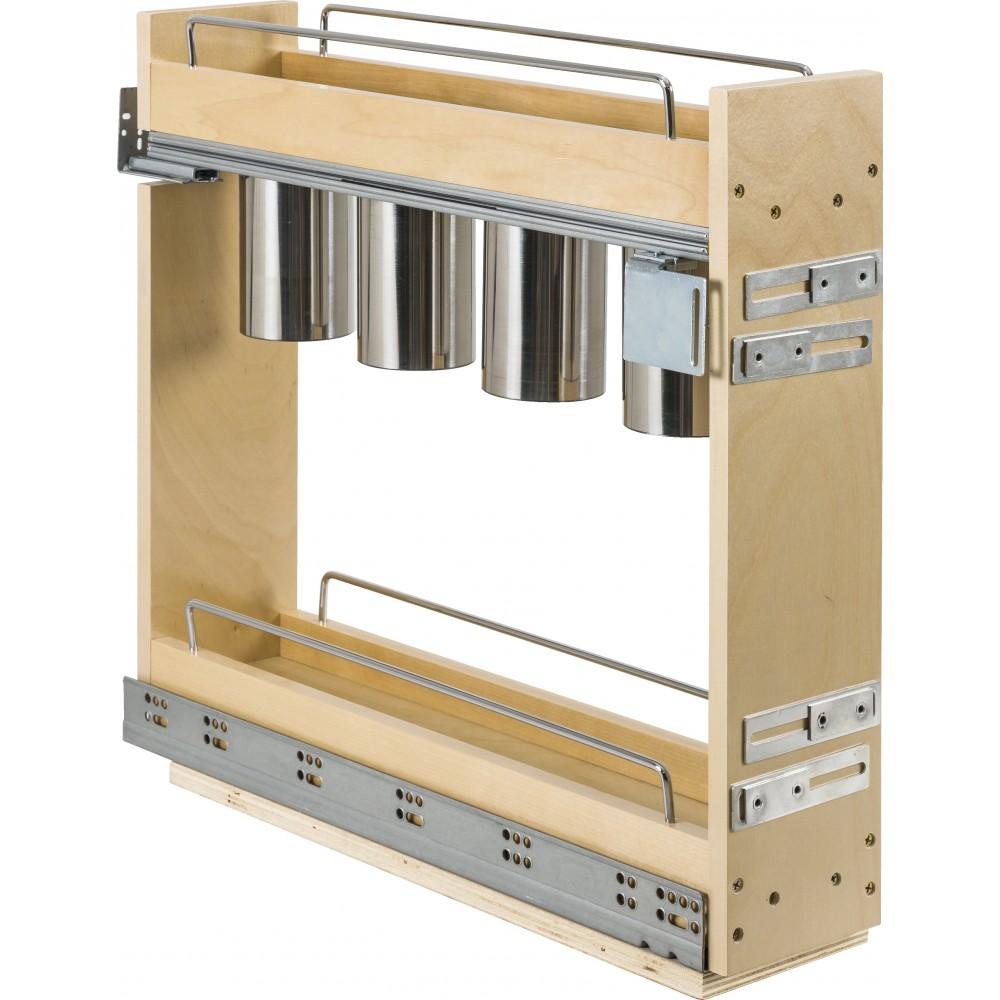 "5 Inch ""No Wiggle"" Utensil Bin Base Cabinet Pullout Built on Premium Soft-close Slides"