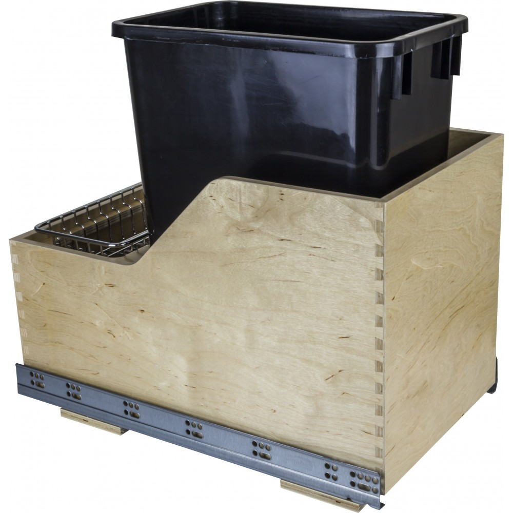 Preassembled 35 Quart Single Pullout Waste Container System