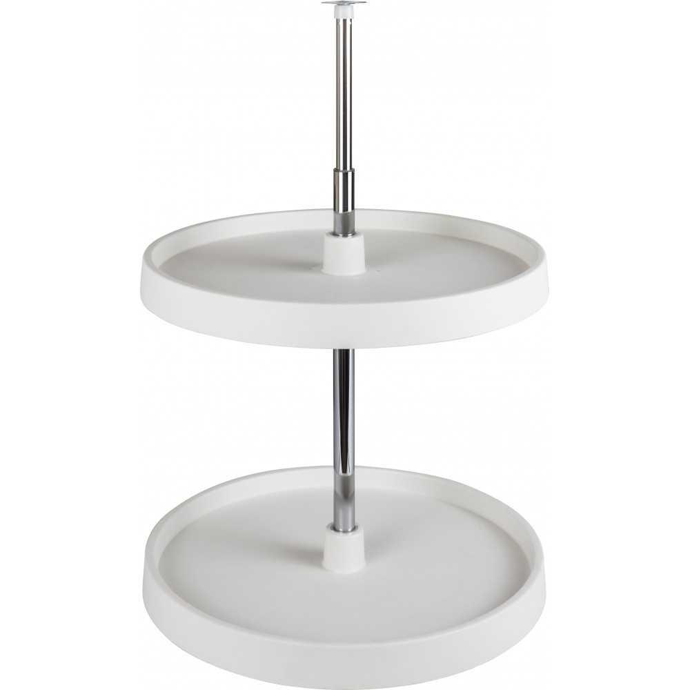 "24"" Diameter Round Plastic Lazy Susan Set with Twist and Lock Pole"